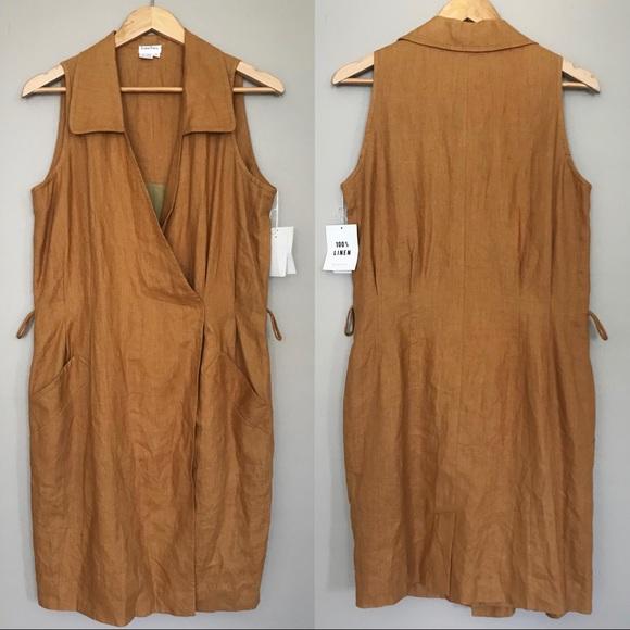 e09c67bb96f Neiman Marcus Mustard Linen Sleeveless Wrap dress